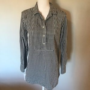 J. Crew Gingham Check Tunic Blouse